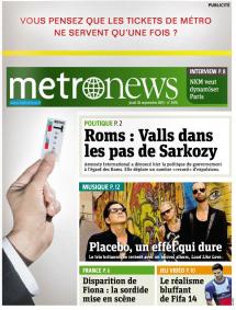 METRO NEWS – 26 septembre 2013